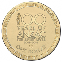 2016 $1 100 Years Of ANZAC 'Australia' Counter Stamp