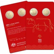 2021 $1 Ox 2 coin Al/Br set