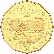 2018 50c Commonwealth Games Gold Plated