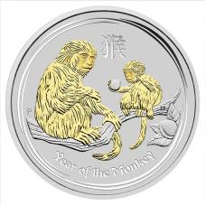 2016 $1 Monkey Silver Gilded