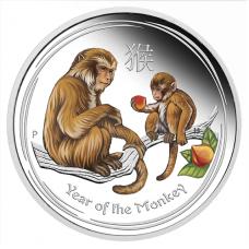 2016 $1 Monkey Silver Coloured