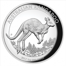 2017 $1 Kangaroo High Relief Silver Proof