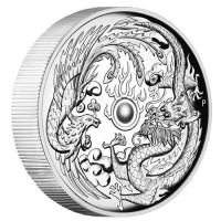 2017 $1 Dragon and Pheonix High Relief Silver Proof