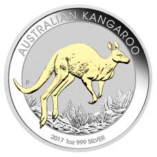 2017 $1 Kangaroo Silver Gilded