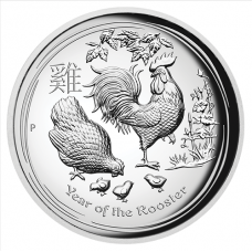 2017 $1 Rooster High Relief Silver Proof