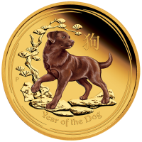 2018 $100 Lunar Dog Coloured Gold Coin