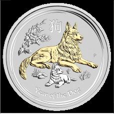 2018 $1 Dog Gilded Silver Coin