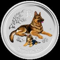 2018 $1 Dog Coloured Silver Coin