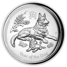 2018 $1 Dog High Relief Silver Proof