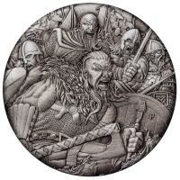 2018 $2 Warfare - Vikings Antique Silver Coin
