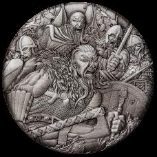 2018 $2 Warfare - Vikings Antique Silver Coin