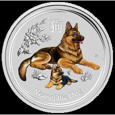 2018 $30 Dog Gemstone Silver Coin