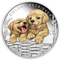 2018 50c Puppies - Golden Retriever Silver Proof