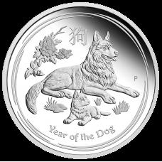 2018 $1 Lunar Dog Silver Proof (PM)