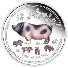 2019 $1 Pig Silver Coloured