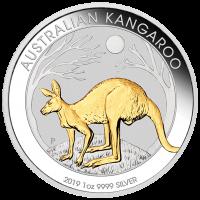 2019 $1 Kangaroo Gilded Silver Coin
