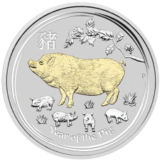 2019 $1 Pig Gilded Silver Coin