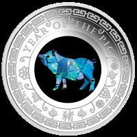 2019 $1 Lunar Pig Opal Silver Coin