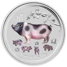 2019 $30 Pig Gemstone Silver Coin