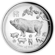 2019 $1 Pig High Relief Silver Proof