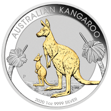 2020 $1 Kangaroo Gilded Silver Coin