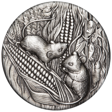2020 $2 Year of the Rat Antique Silver Coin
