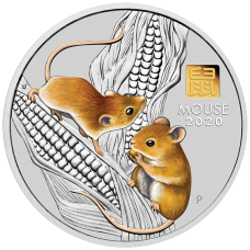 2020 $30 Mouse Silver Coin with Gold Privy Mark