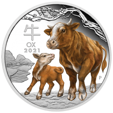 2021 $1 Year of the Ox Coloured Silver Proof