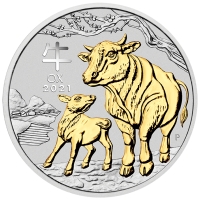 2021 $1 Ox Gilded Silver