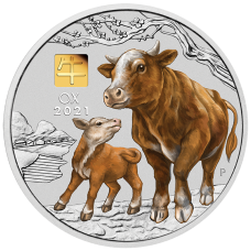 2021 $30 Ox Coloured Silver Coin with Gold Privy