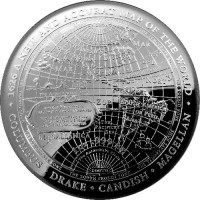 2019 $5 1626 Columbus, Drake, Cavendish and Magellan Silver Domed Proof