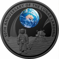 2019 $5 Moon Landing Domed Silver Proof