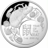 2020 $5 Lunar Rat Domed Silver Proof