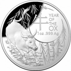 2021 $5 Lunar Ox Silver Domed Proof