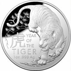 2022 $5 Tiger Domed Silver Proof