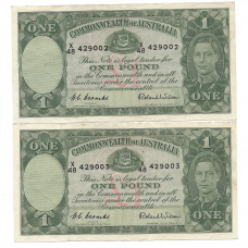 R32 1 Pound Coombs/Wilson Consecutive Pair EF