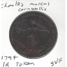 1794 Charles Marquis Cornwallis Penny Token in VF