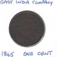 East India Company 1845 1 Cent VF