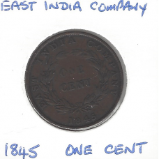 East India Company 1845 1 Cent VF