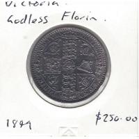 1849 British Florin (Godless) aUnc