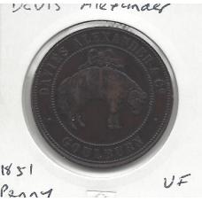1857 Davies Alexander Goulburn 1 Penny Token VF