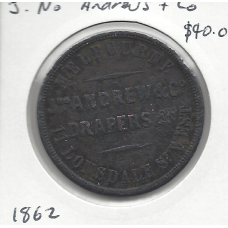 1862 J. No. Andrews & Co Penny Token VG