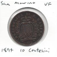 1894 San Marino 10 Centesimi VF
