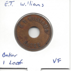 E.T. Williams Brass 1 Loaf Bread Token VF