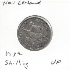 1934 New Zealand Shilling VF