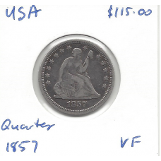 USA 1857 Quarter VF