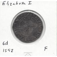 Great Britain 1592 Sixpence (Elizabeth I) Fine