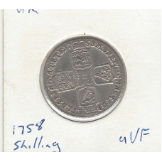Great Britain 1758 Shilling aVF