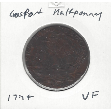 Great Britain 1794 Gosport Halfpenny VF