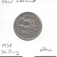 New Zealand 1935 Shilling aUnc